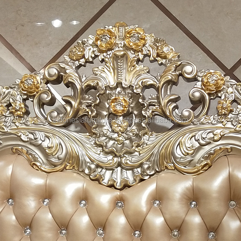 European bed 1.8 meters double bed luxury home custom solid carved double master bedroom high storage storage bed