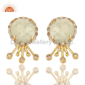 14k Solid Gold 925 Silver Womens Earring Whole Pave Set Diamond Indian Jewelry Manufacturer