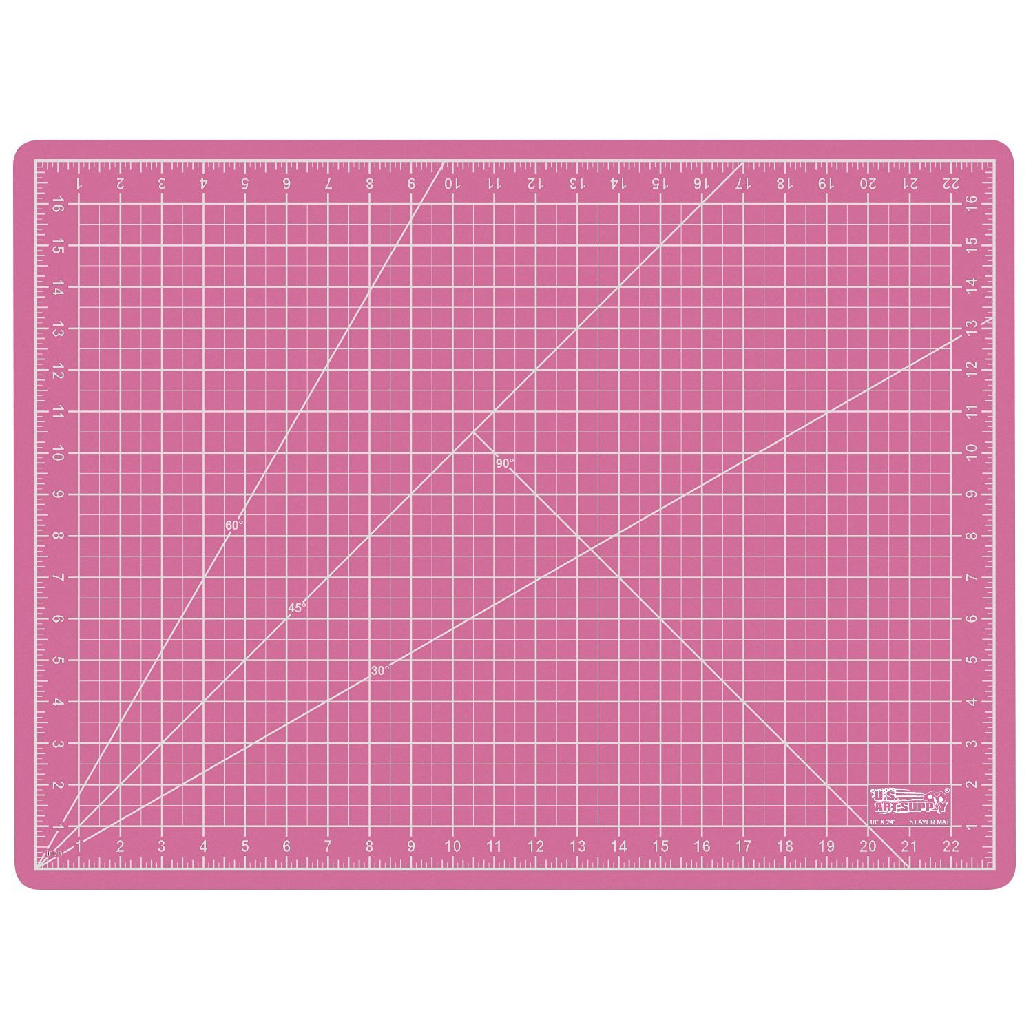 "US Art Supply 18"" x 24"" PINK/BLUE Professional Self Healing 5-Ply Double Sided Durable Non-Slip PVC Cutting Mat Great for Scrapbooking, Quilting, Sewing and all Arts & Crafts Projects (Choose Green/Black or Pink/Blue Below)"