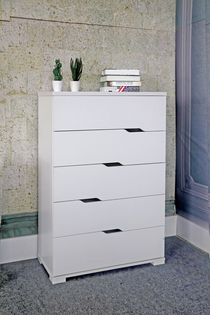 Smart home K16013 Eltra K Series Diagonal Open Handles 5 Drawers Chest Dresser (5 Drawers, White)