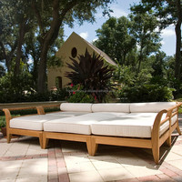 Teak wood Outdoor Daybed furniture Sofa set daybed designs deep seating thick cushion