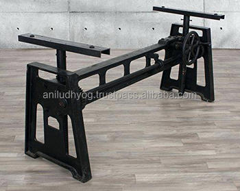 Forged Iron Industrial Table Base/industrial Cast Iron Hand Crank Base -  Buy Industrial Cast Iron Adjustable Height Crank Table,Industrial Vintage