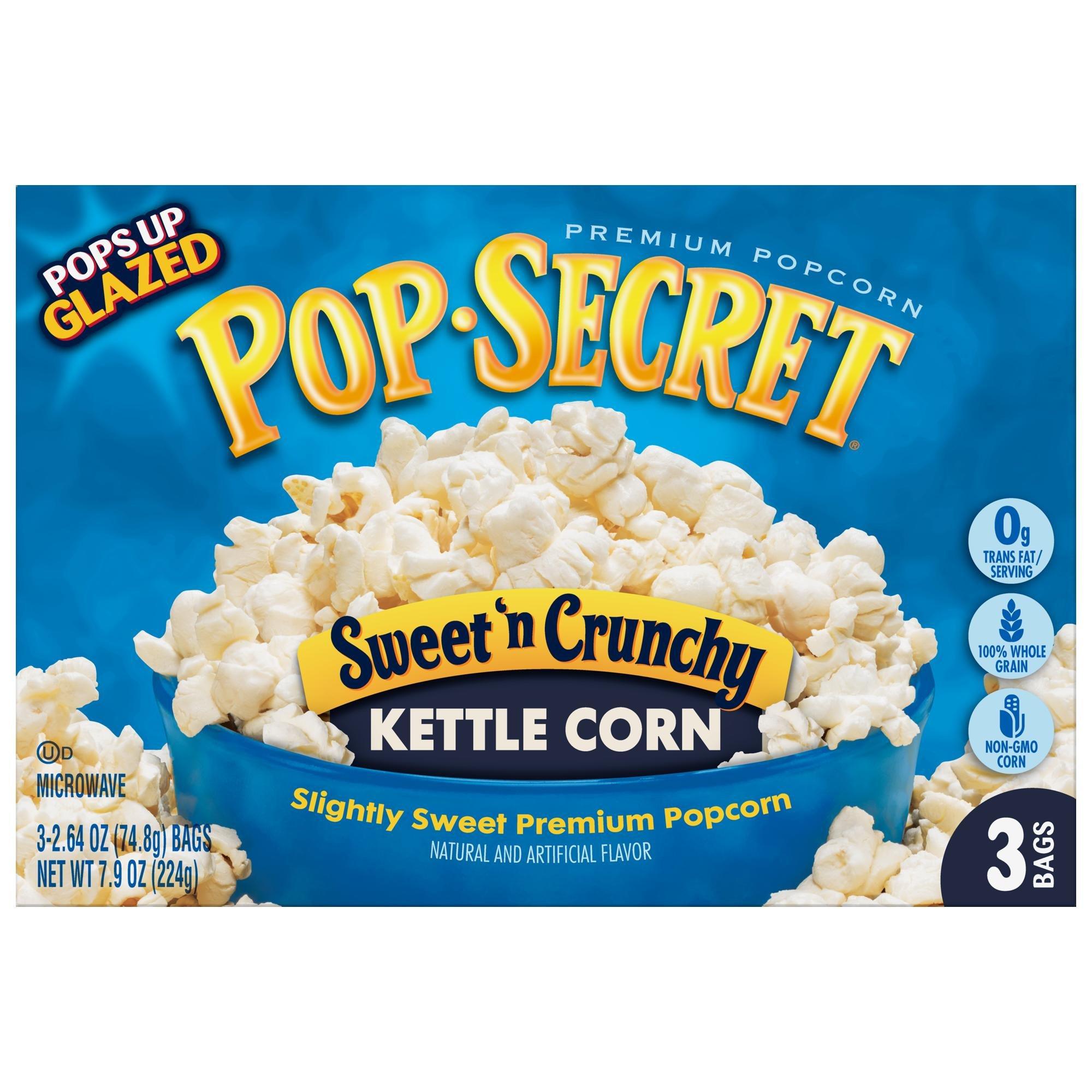 Pop Secret Popcorn, Sweet 'n Crunchy Kettle Corn, 3-Count Box