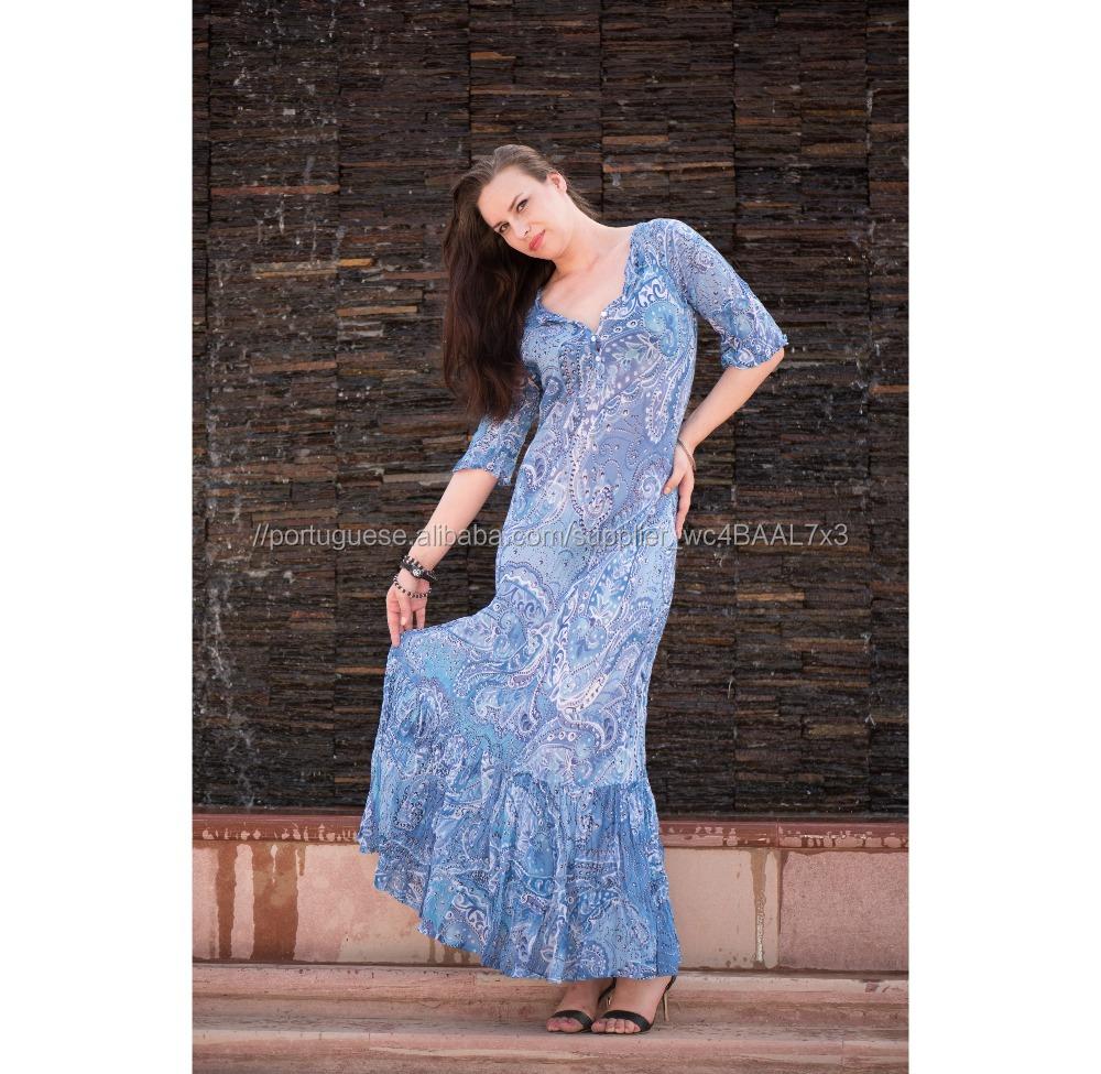 41f2932b9 Azul Longo maxi vestido Boho Verão das mulheres Ocasional 3 4 manga Festa À  Noite