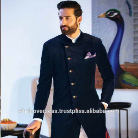 Indian Bollywood Indo Western Mens Sherwani Wedding Dress Jacket