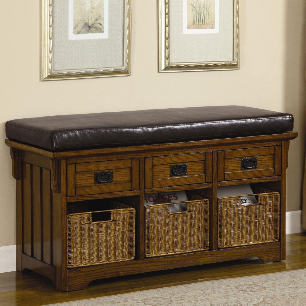 Super 1Perfectchoice Accent Hallway Entryway Storage Bench Baskets Drawers Upholstered Seat Mid Brown Camellatalisay Diy Chair Ideas Camellatalisaycom
