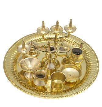 Indian Pooja Item Like Thali/tat/pooja Thali/ Metal Utensils - Buy Pooja  Thali & Utensiles,Brass Thali / Tat / Puja Thali,Brass Pooja Items Product  on