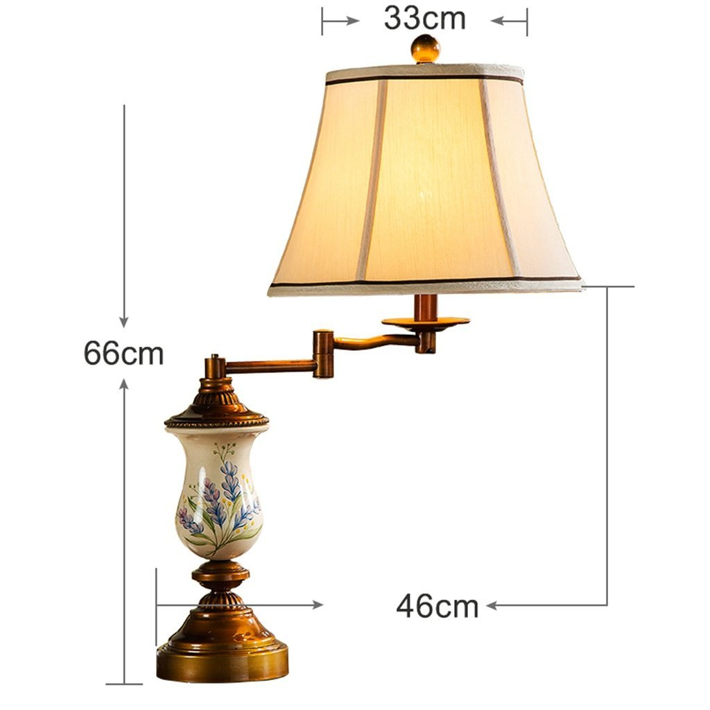 WENBO HOME- Living room American table lamp bedroom bedside lamp warm and creative hand-painted rocker marriage room study iron lamp -Desktop lamp