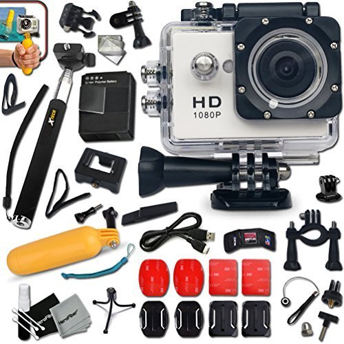 KoolCam AC200 HD 1080p Waterproof ACTION Camera / Camcorder for KIDS and Adults with a Super 140 degree Wide angle Lens KIT Includes: Handheld Extendable MONOPOD Pole + Hermetically Sealed Floating Bobber + Adjustable Bike Mount + Long Life Battery + USB Charging Cable + Adjustable Tripod Mount + 2