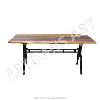 industrial live edge iron base dining table solid wood slab dining table acacia wood
