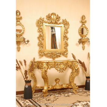 Indonesia Exclusive Console Table With Mirror In Gold Leaf