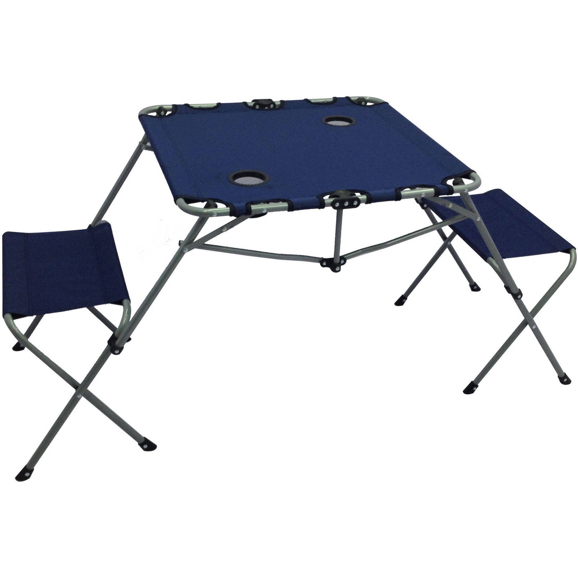 Ozark Trail 2-In-1 Table Set, Includes Two Seats And Two Cup Holders, Great For Picnic Or Camping, Blue, SW16021BLU