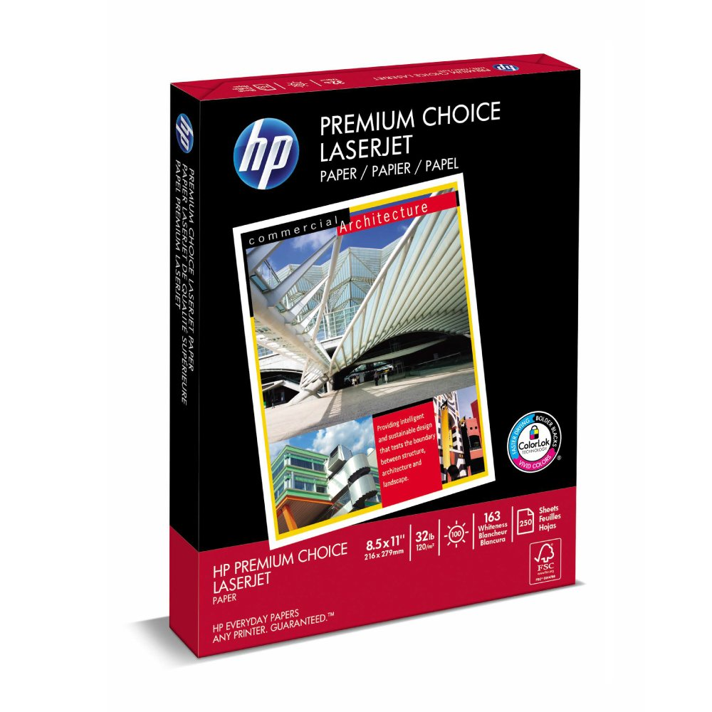HP Printer Paper, Premium32, 8.5 x 11, Letter, 32lb, 100 Bright, 250 Sheets/1 Pack, (113500R) Made In The USA