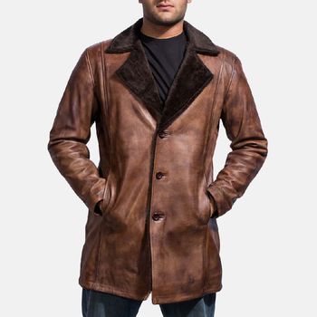 Men's Fashionable Cinnamon Distressed Real Sheepskin Leather Fur Coat With Closure Style Button