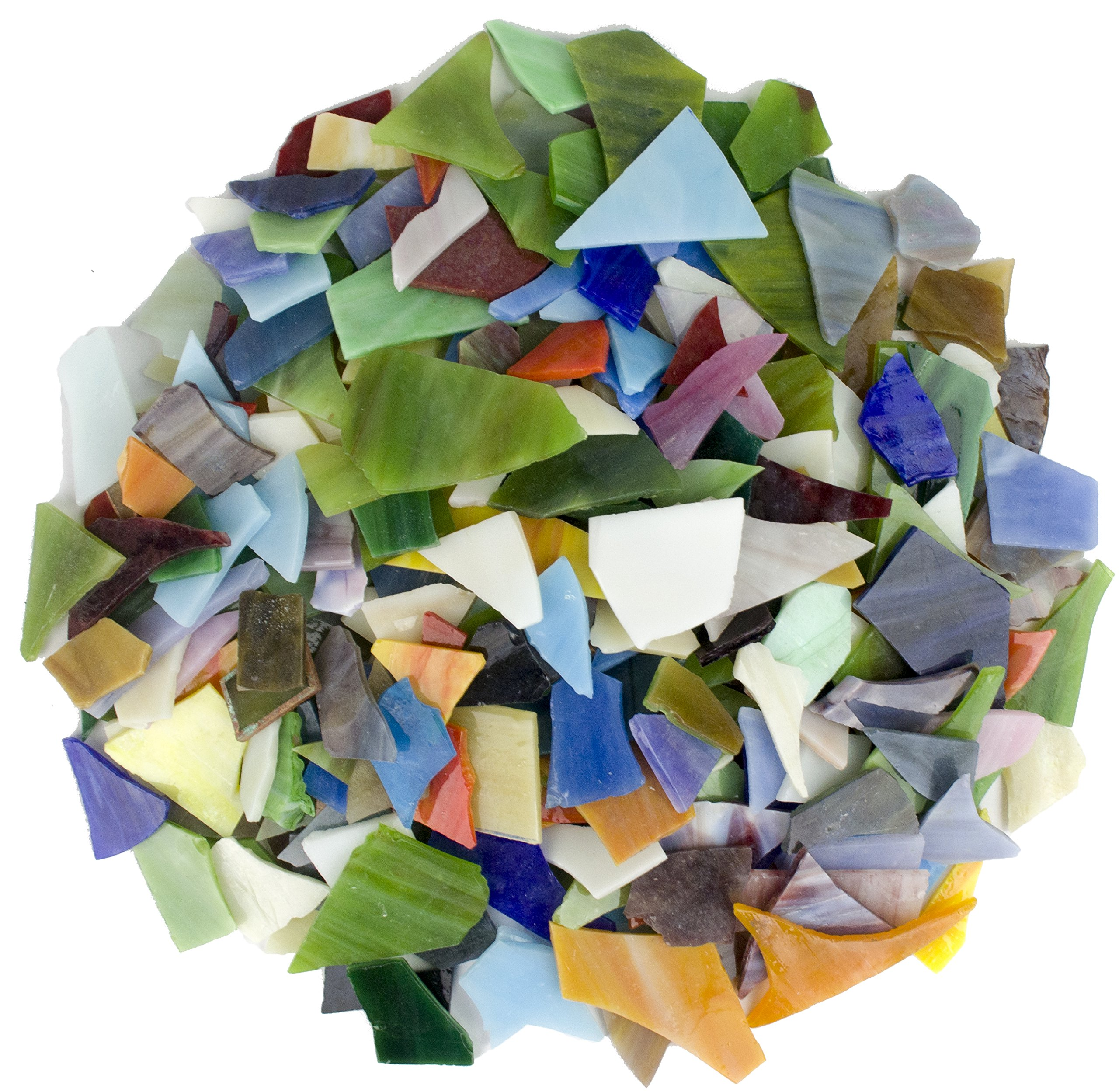 Glass Mosaics Pieces Bright Stained Glass, Assorted Colors and Irregular Shapes, 35 ounce Value Pack