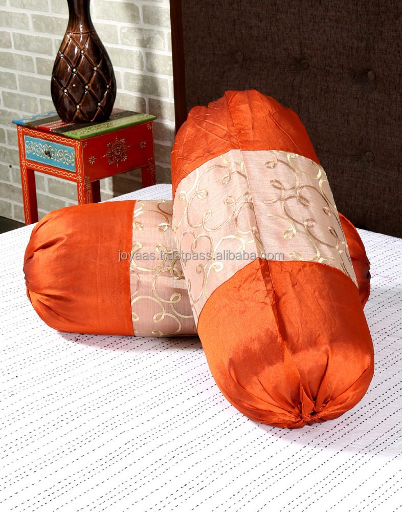 Large Scroll Pattern Embroidered Cylinderical Shape Round Poly dupion Bolster Pillow Cover