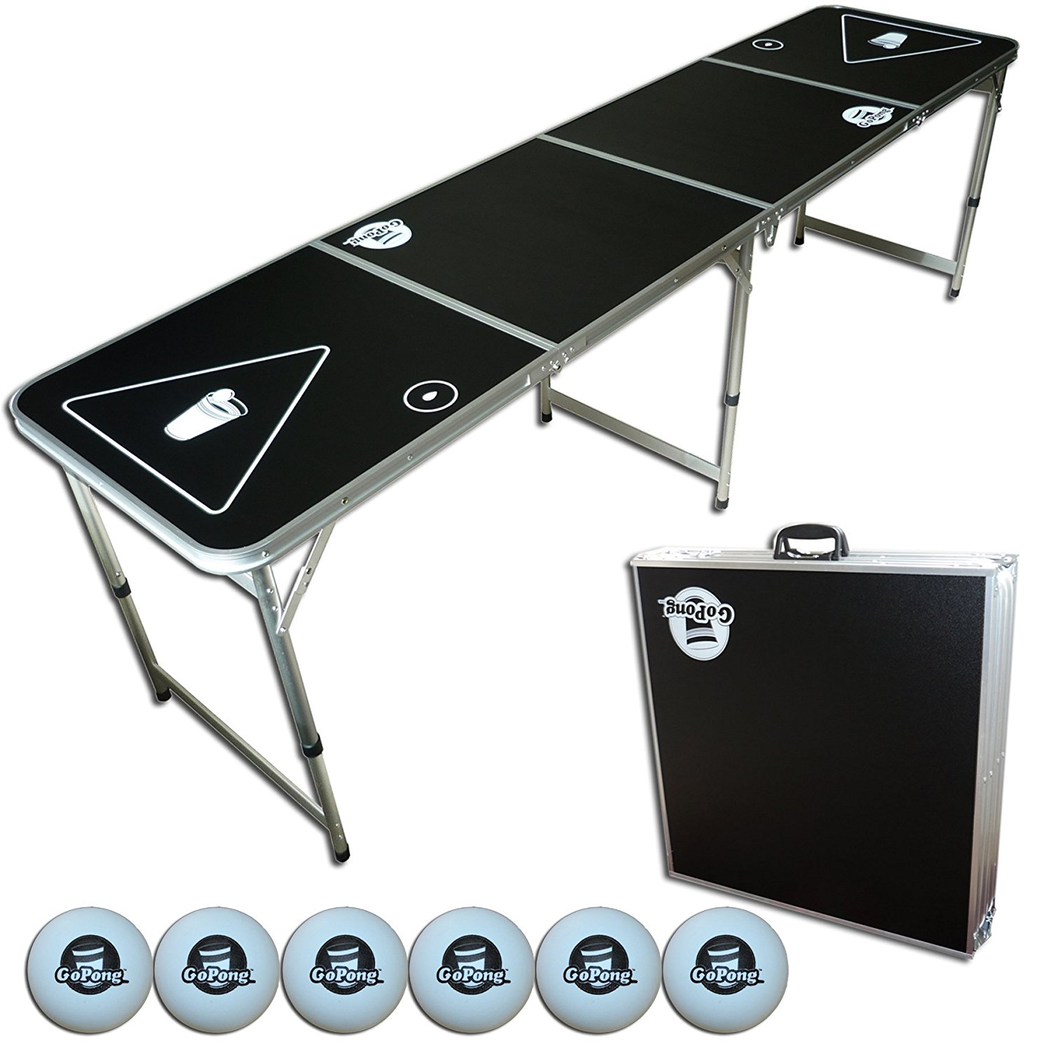 The Original Black Beer Pong Table, 2x8, 8ft Tailgate Table, Aluminum, All Weather, Lightweight, Portable