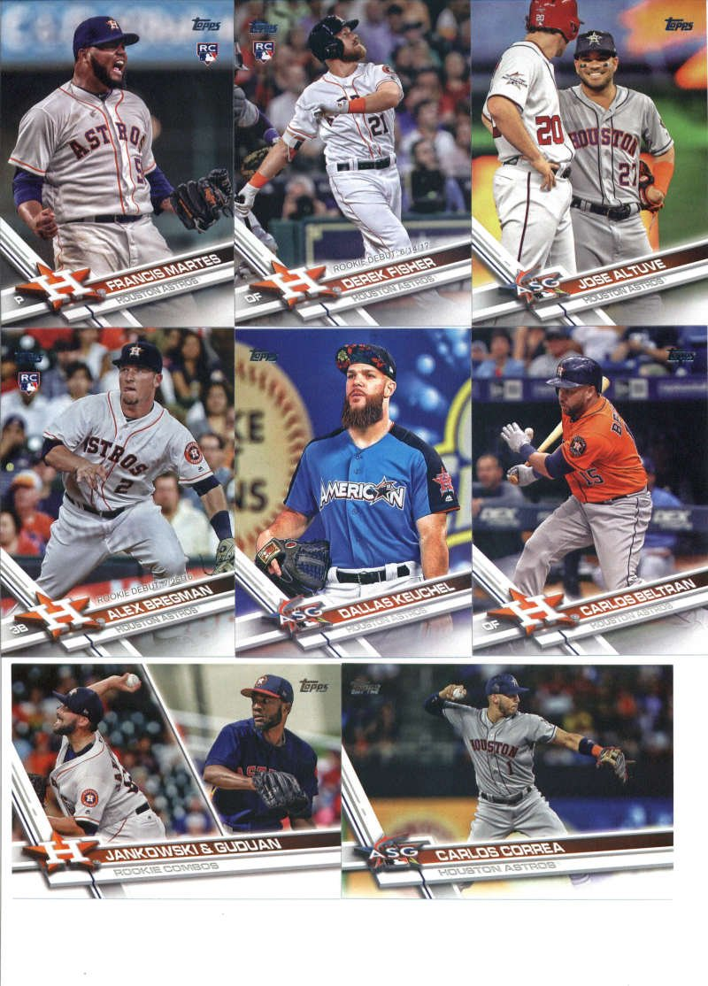 2017 Topps Update Series Houston Astros Team Set of 15 Cards: Yulieski Gurriel(#US8), George Springer(#US9), Brian McCann(#US13), BLAST OFF(#US14), Charlie Morton(#US39), Josh Reddick(#US70), Derek Fisher(#US90), Carlos Beltran(#US120), Dallas Keuchel(#US132), Alex Bregman(#US150), Jose