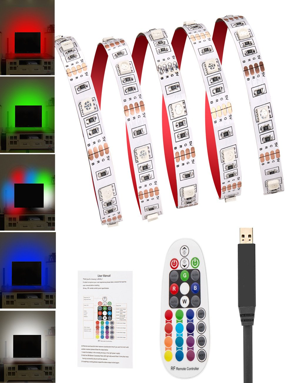 HL RGB TV BackLight Kit 9.84Ft Multi-color Flexible LED Strip Light with USB Cable and Mini Controller TV/Laptop Background Lighting-White Color Changing