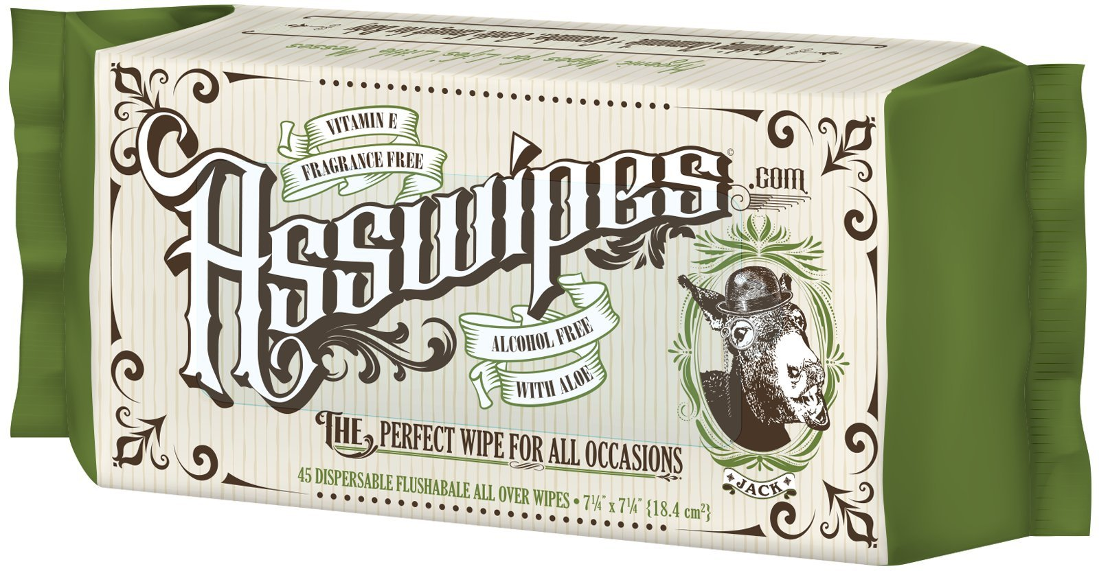 ASSWIPES Flushable Cleaning Hygiene Wipes with Aloe and Vitamin E! Made for Bathroom, Body, Baby, Feet and Face! Alcohol, Paraben, and Fragrance FREE for Sensitive Skin! (1 Pack)