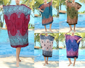 mandala print rayon buttefly wing kimono dresses super cute colors PLUS size fit