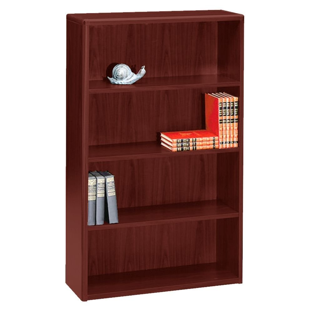 "Four Shelf Bookcase - 57""H Dimensions: 36""W x 13.125""D x 57.125""H Weight: 155 lbs Mahogany"