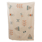 Decorative pattern embroidered indian cotton throw blanket for sale