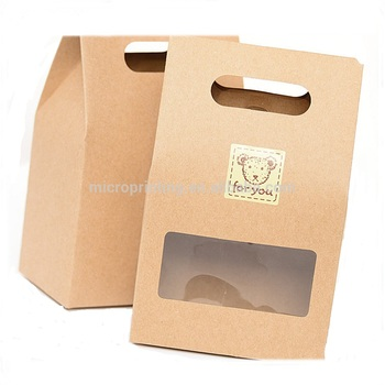 CHEAP Brown Kraft Scatola di Carta Con Pvc Finestra Trasparente Per Uso Alimentare