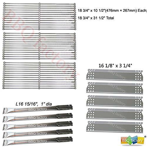 bbq factory® Replacement Jenn-Air 720-0727,720-0709 ,720-0709B, 5 Burner Gas BBQ Grill Replacement Kit Stainless Steel Burner, Stainless Steel Heat Plate, Stainless Steel Cooking Grid