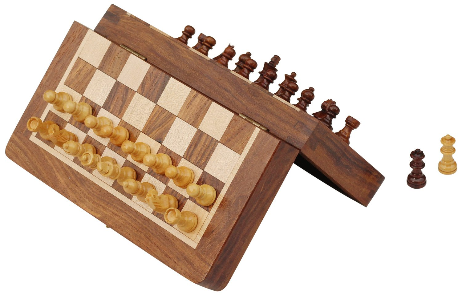 """Wooden Chess Set Travel Magnetic Folding Board Rosewood 7.5/"""" Extra Queens"""