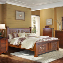 Bed Queen Size With Butterfly Ornament Carving Teak Wood