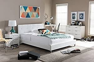 Contemporary Crystal Tufted Queen Size Bed in White Faux Leather