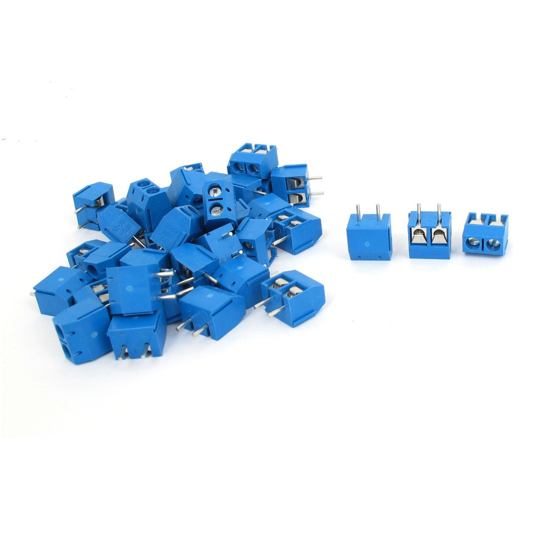 uxcell AC 300V 10A 2 Pin 5mm Pitch PCB Mount Screw Terminal Block 40 Pcs Blue