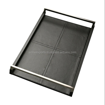 Rectangular Black Leather serving Stitches Trays With Long Stainless Steel Handle