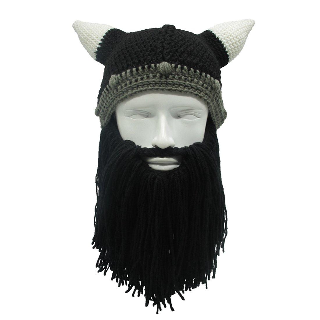 f9516acf100 Get Quotations · ZGZY Beard Hat Beanie Hat Knit Hat The Original Barbarian  Warrior Knit Beard Hat Halloween Viking