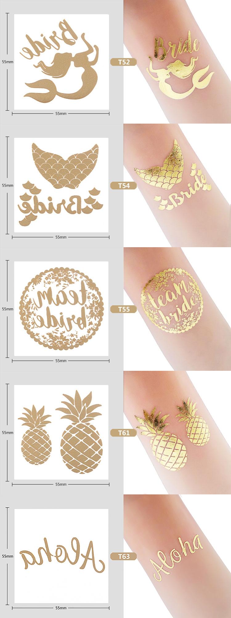Designs Bride Tribe Bachelorette Wedding Party Team Gold Temporary Body Tattoos
