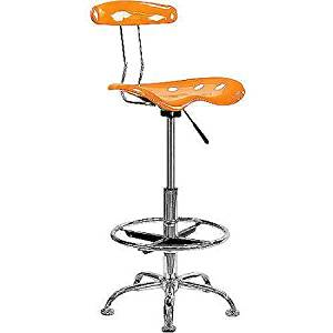 Adjustable Height Drafting Stool with Tractor Seat, Low Back, Swivel, Task Chair, Adjusts to Bar Stool Seat Height, Chrome Foot Ring, Home Office, Multiple Finishes + Expert Guide (Orange)