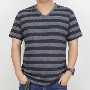 Men's Fashion Stripe Tee Shirt Short Sleeve V-neck T-Shirt Soft