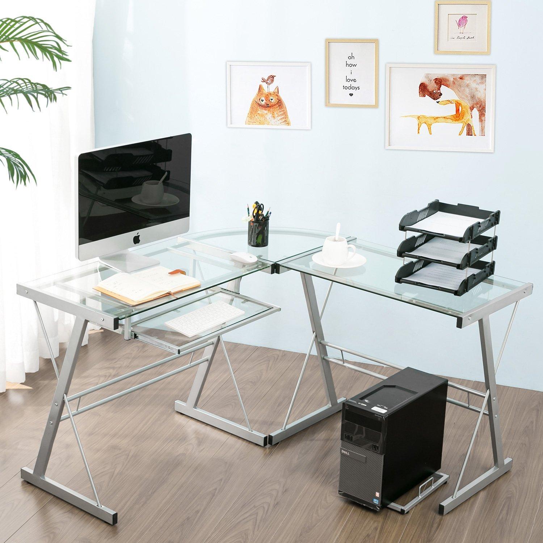 Modern Luxe by Merax Glass L-shaped Corner Desk Office Modern Home Computer Desk Multi Function Desk PC Laptop Table Workstation, Sliver