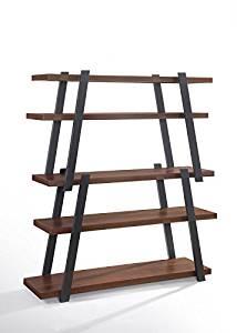 VIG Furniture Modrest Tobias Collection Modern Walnut Veneer & Charcoal Grey Finished Bookshelf with 5 Shelves, Brown