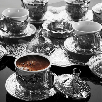 Turkish Coffee Set With Tray For Six Person Silver Color Arabic Style Coffee Cups Set
