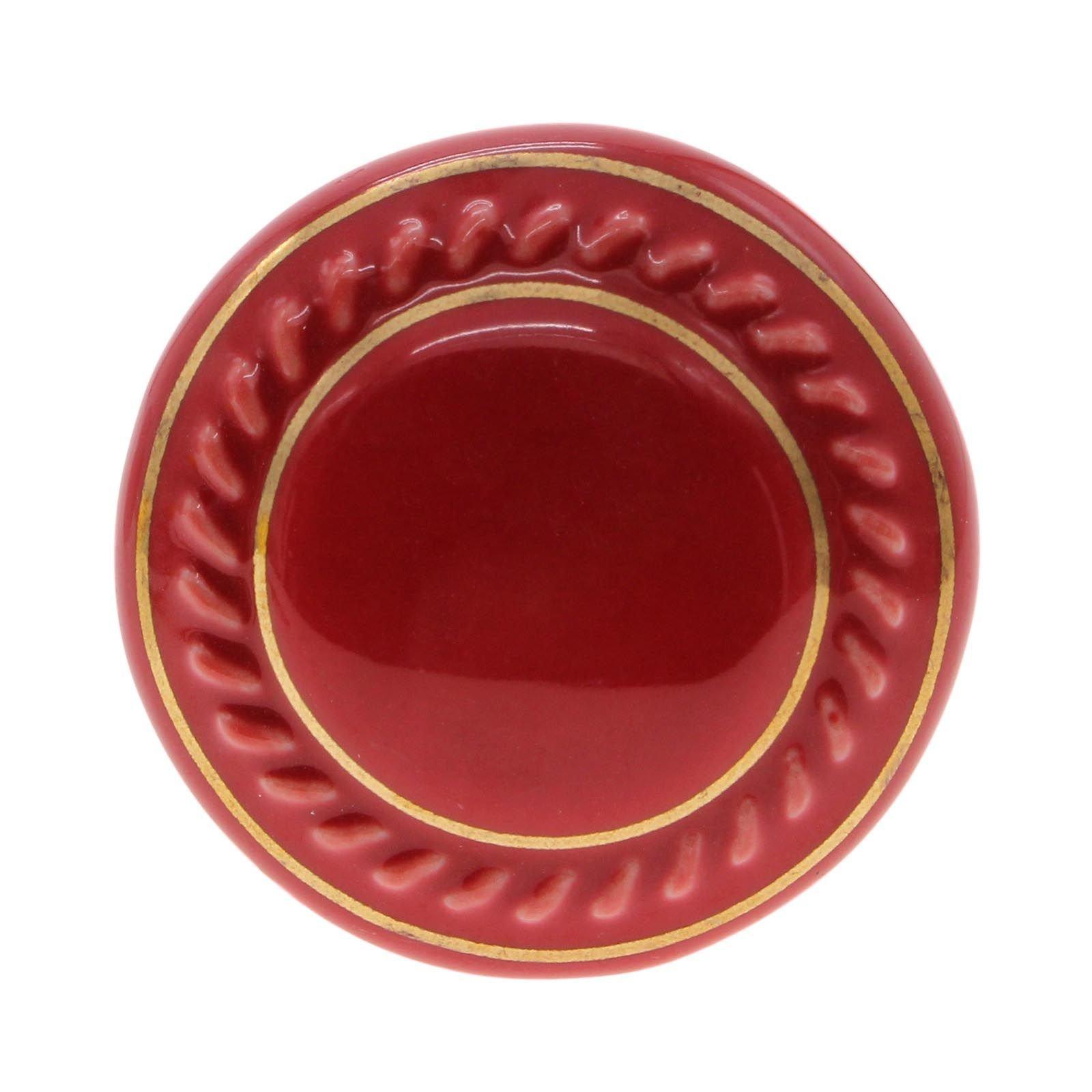 VANKER 1Pc Red Ceramic Round Cupboard Wardrobe Door Drawer Knob Pull Handle