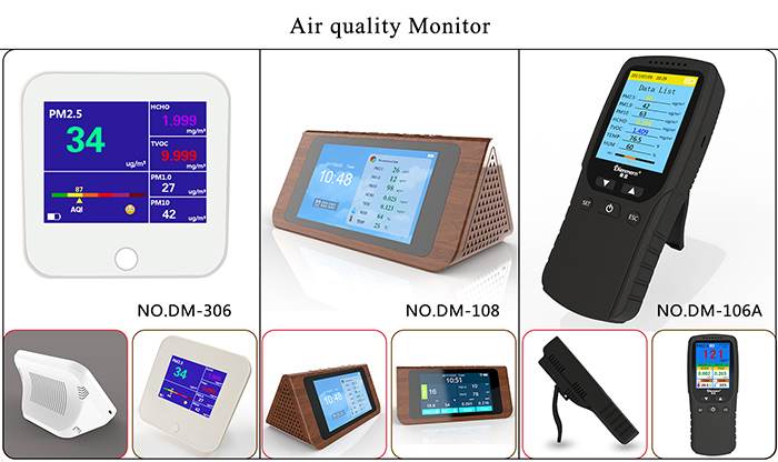 Dienmern 2018 New PM2.5 Air quality monitor PM1.0 PM10 HCHO/TVCO AQI air detector with Temperature and humidity USA