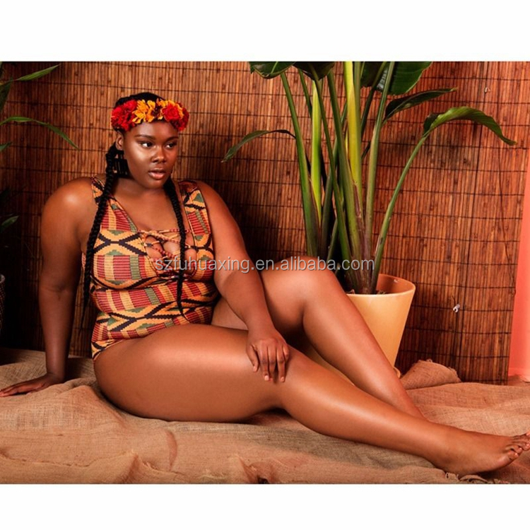 Custom African Print Swimwear Bikini Woman Sexy One Piece Lace Up Plus Size Swimsuit