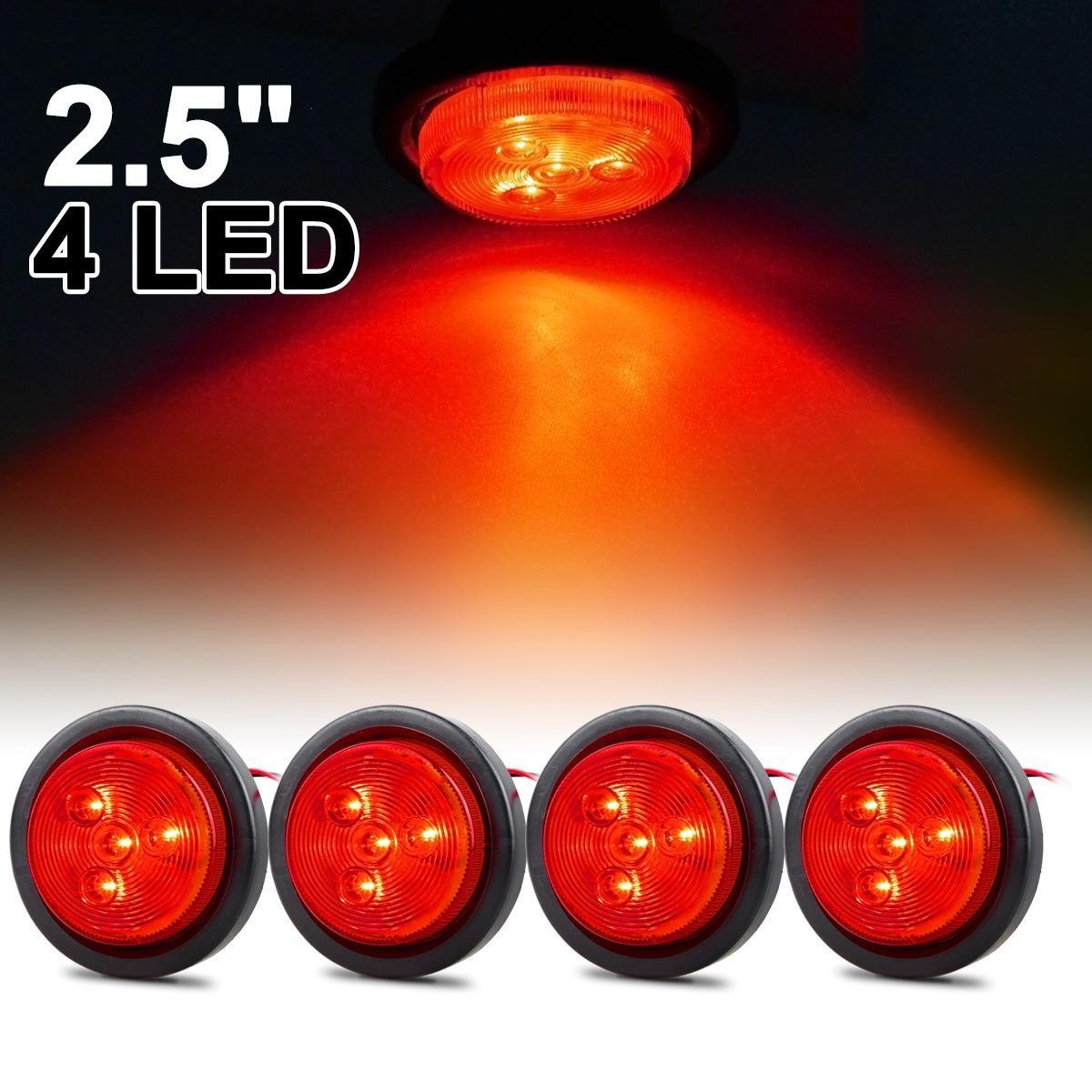 Buy Flush Flange Mount 4 Round Red Lights Stop Turn Tail Signal Utility Trailer St In Cheap