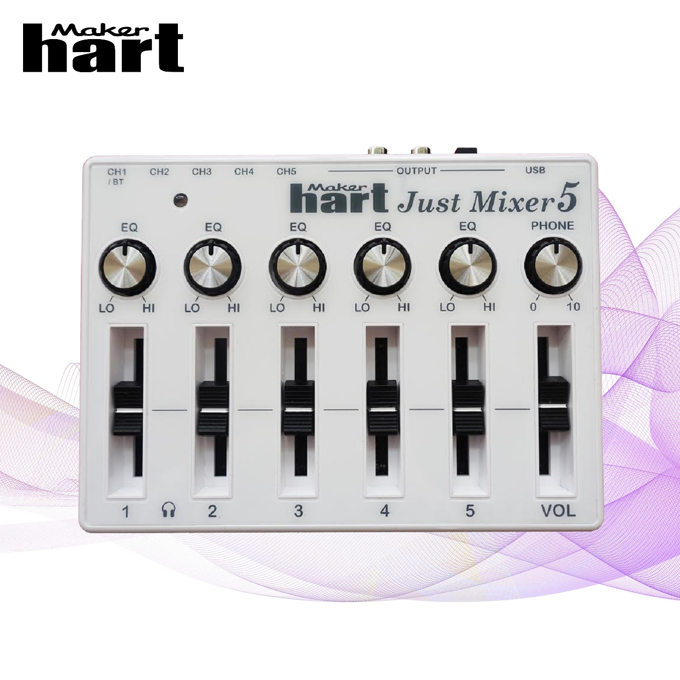 Just Mixer 2 Gold 120V 3.5mm mini mixer audio 3CH stereo USB audio mixer