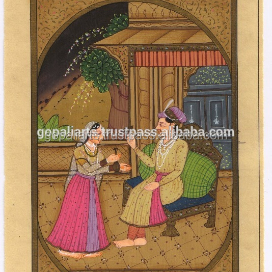 Art Indian Fine Miniature Painting Mughal/moghul Queen Hand-made Indian Art-painting