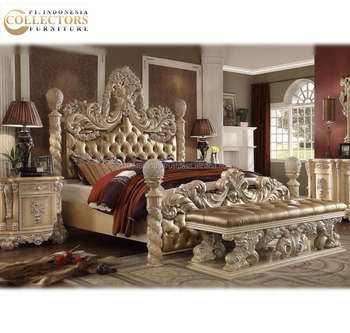 Luxury Clic Royal Carved King Size Bed Set Bedroom Furniture