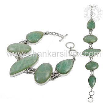 Beautiful amazonite gemstone bracelet handmade jewellery 925 sterling silver jewelry exporters