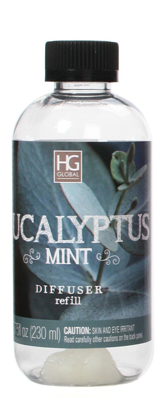 Hosley Aromatherapy Premium Eucalyptus Mint Reed Diffuser Refills Oil, 230 ml (7.75 fl oz) Made in USA. Bulk Buy. Ideal Gift for Weddings, Spa, Reiki, Meditation Settings W1